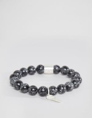 Chained & Able Браслет с камнями и металлическими деталями. Цвет: черный