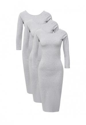 Комплект платьев 3 шт. oodji. Цвет: серый