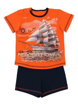 Комплект (джемпер+шорты) Basia. Цвет: темно-синий, оранжевый