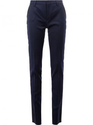 Строгие брюки кроя слим Saint Laurent. Цвет: синий