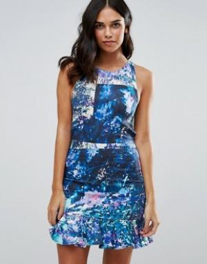 Talulah Платье мини с принтом Lilac Bloom. Цвет: синий