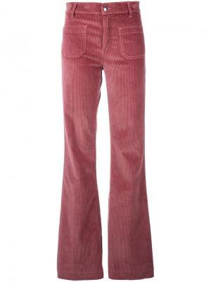Расклешенные вельветовые брюки The Seafarer. Цвет: розовый и фиолетовый