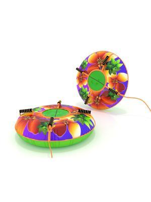 Санки-ватрушка (тюбинг) 110 см Цветы SPORTREST. Цвет: зеленый, бордовый, малиновый, оранжевый