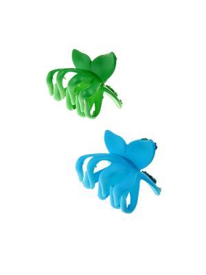 Заколка-краб (2 шт.) Happy Charms Family. Цвет: голубой, зеленый