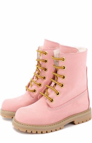 Кожаные ботинки с внутренней меховой отделкой Gallucci. Цвет: розовый