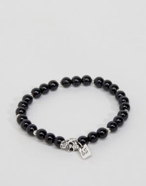 Icon Brand Черный браслет с бусинами и черепом. Цвет: черный