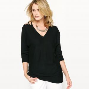 Пуловер оригинальный, 10% шерсти ANNE WEYBURN. Цвет: фуксия,черный