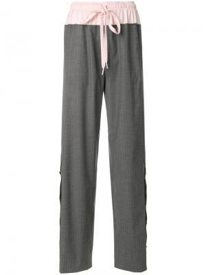 Широкие брюки со шнурком Cédric Charlier. Цвет: серый