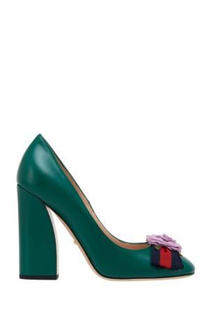 Кожаные туфли Gucci. Цвет: зеленый