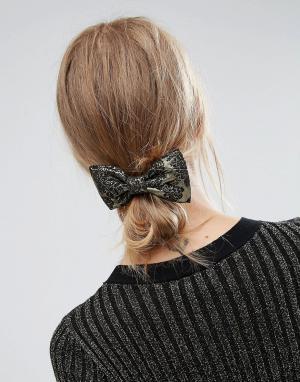ASOS Заколка для волос с бантом из парчи. Цвет: черный