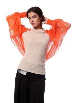 Болеро безразмерное вязаное из мягкого хлопка Оранжевая Паутинка SEANNA. Цвет: оранжевый
