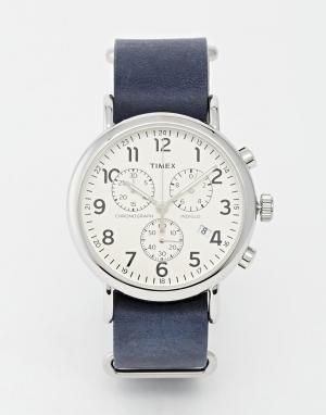 Timex Часы-хронограф в стиле милитари Weekender. Цвет: темно-синий