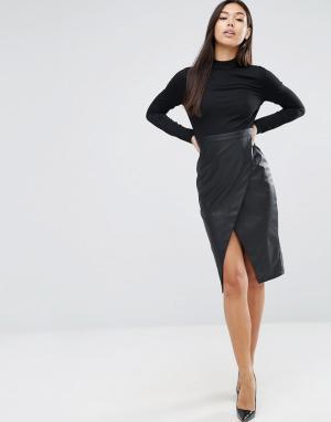 ASOS Платье с длинными рукавами и юбкой из искусственной кожи. Цвет: черный