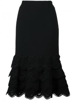 Юбка с ажурной окантовкой Jonathan Simkhai. Цвет: чёрный