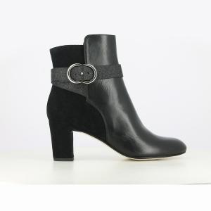 Ботильоны кожаные на каблуке Darissa Exclusivité La Redoute JONAK. Цвет: черный