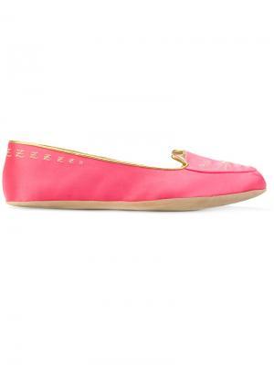Тапочки Cat Nap Charlotte Olympia. Цвет: розовый и фиолетовый