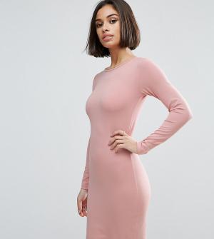 ASOS Petite Облегающее платье мини с длинными рукавами. Цвет: розовый