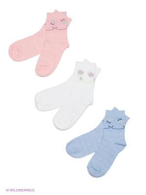 Носки детские, 3 пары БРЕСТСКИЕ. Цвет: светло-голубой, бледно-розовый, белый