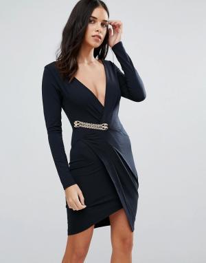 Jessica Wright Платье с длинными рукавами и запахом. Цвет: черный
