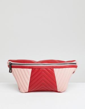 ASOS Стеганая сумка-кошелек на пояс. Цвет: розовый