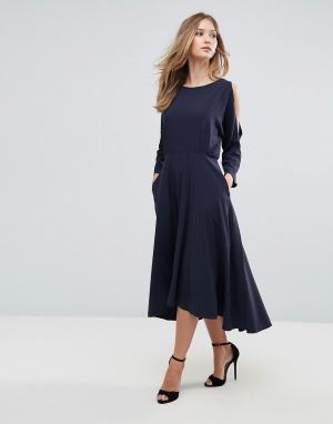Closet London Платье с открытыми плечами и удлиненным краем. Цвет: мульти