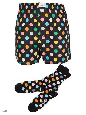 Трусы и носки Happy Socks. Цвет: черный, голубой, желтый