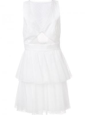 Платье Annabelle с V-образным вырезом Zac Posen. Цвет: белый