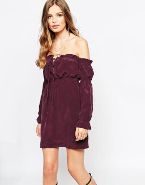 Stone Cold Fox Шелковое платье сливового цвета River. Цвет: красный