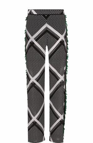 Шелковые брюки прямого кроя с пайетками MSGM. Цвет: черный