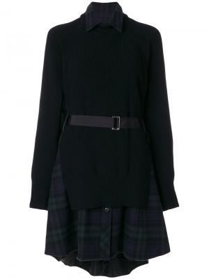 Платье-рубашка Sacai. Цвет: зелёный