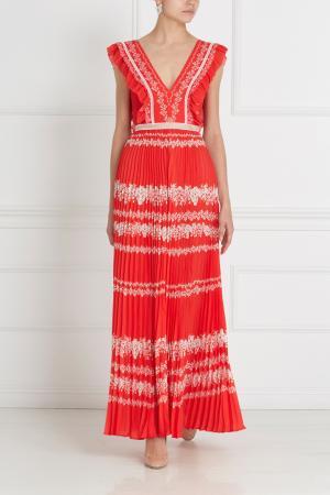 Платье с принтом Self-Portrait. Цвет: красный, белый