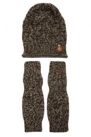 Комплект из шерсти с вискозой (шапка и митенки) 156931 Noryalli