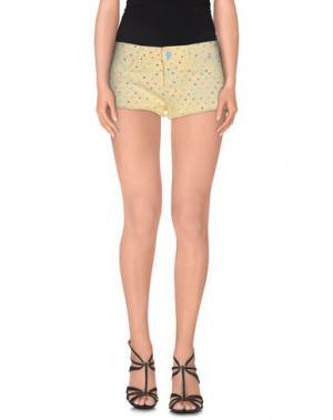 Джинсовые шорты TWIN-SET JEANS. Цвет: светло-желтый