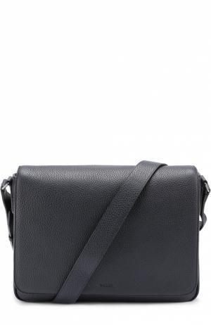 Кожаный мессенджер с внешним карманом на молнии Bally. Цвет: темно-синий