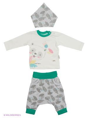Костюм для малышей WO&GO. Цвет: зеленый, серый меланж, молочный