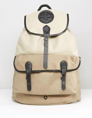 Stighlorgan Парусиновый рюкзак с кожаной отделкой и карманом Roban. Цвет: stone