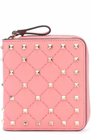 Кожаный бумажник Rockstud Spike Valentino. Цвет: розовый