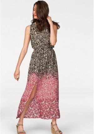 Платье макси VIVANCE. Цвет: белый/цвет белой шерсти/розовый/коричневый с рисунком