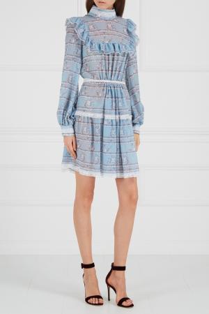 Голубое платье с оборками A LA RUSSE 6767875
