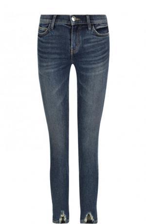 Укороченные джинсы-скинни с потертостями Current/Elliott. Цвет: синий