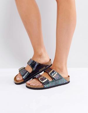Birkenstock Блестящие сандалии для узкой стопы. Цвет: черный