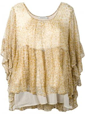 Блузка с цветочным принтом и оборкой Mes Demoiselles. Цвет: жёлтый и оранжевый