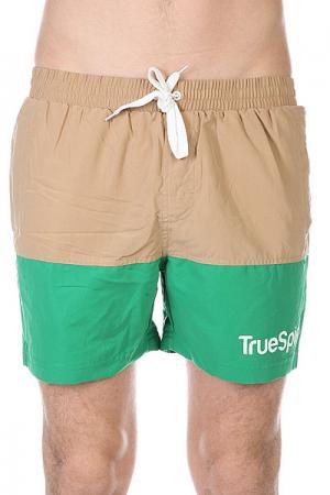 Шорты пляжные  Swimming Shorts Splash Two Beige/Green TrueSpin. Цвет: зеленый,бежевый