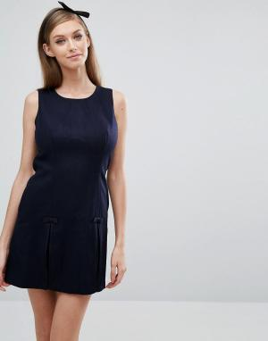 Jack Wills Цельнокройное платье со складками. Цвет: темно-синий