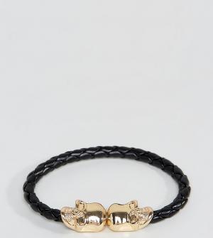 Reclaimed Vintage Черный браслет из искусственной кожи с черепом экскл. Цвет: коричневый