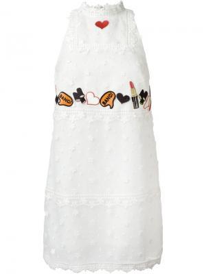 Платье  с вышивкой Giamba. Цвет: белый