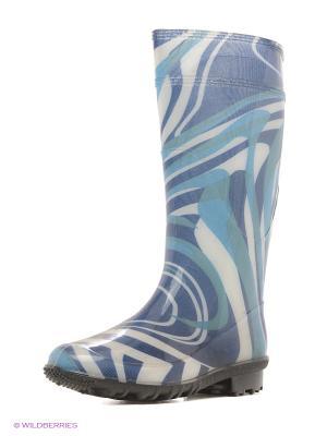 Резиновые сапоги BRIS. Цвет: голубой