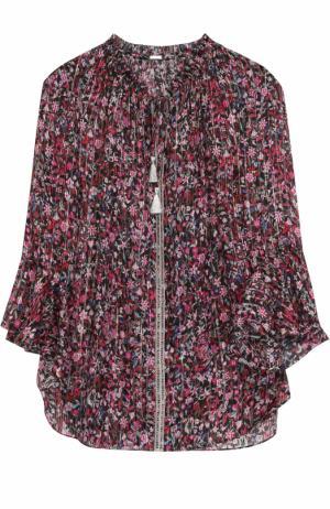 Шелковая блуза на кулиске с цветочным принтом Elie Tahari. Цвет: разноцветный