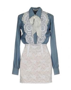 Короткое платье ALESSANDRA RICH. Цвет: небесно-голубой