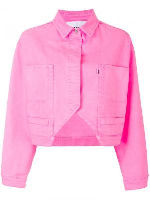 Укороченная джинсовая куртка MSGM. Цвет: розовый и фиолетовый